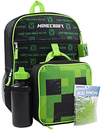 varios tipos de a juego en color 2019 auténtico Minecraft Creeper 5 Piece Backpack Set Lunch Box Water Bottle Ice Pack  Squishy
