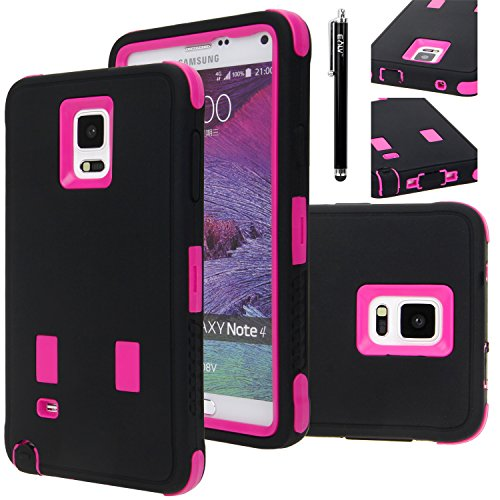 Note 4 Case, E LV Galaxy Note 4 Case Cover - Shock-Absorption / High Impact Resistant Full Body Hybrid Armor Protection Defender Case Cover for Samsung Galaxy Note 4 with 1 HD Screen Protector, 1 Stylus and 1 Microfiber Cleaning Cloth - BLACK / HOT PINK