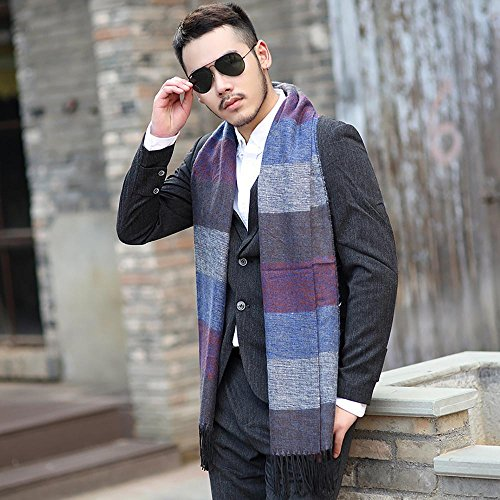 WEKA Men's Imitated Cashmere Thicken Multicolor Fringed Scarf Winter Wrap - Pale Blue