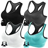 Kyпить FITTIN Racerback Sports Bras - Padded Seamless High Impact Support for Yoga Gym Workout Fitness with Removable Pads 4 Pack (Black, Grey, White and Blue): Medium на Amazon.com