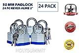 24 PC PIECE SET 50MM HEAVY DUTY DYNAMITE LOCKS LAMINATED PADLOCK KEY ALIKE COMMERCIAL GRADE MULTIPLE PAD LOCKS KEYEDALIKE ALL THE SAME PADLOCKS