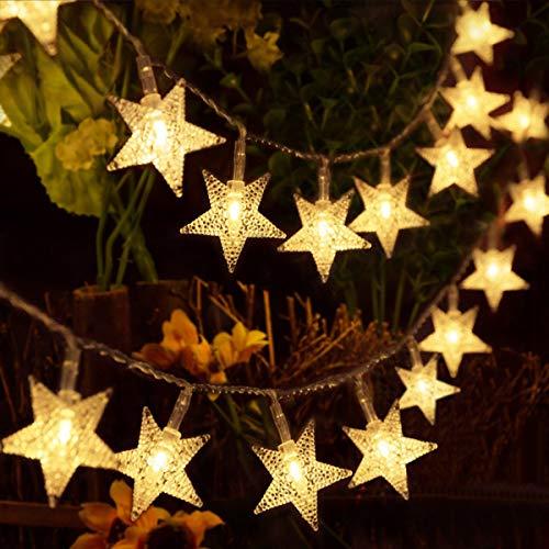 HOMVAN Luces de Estrellas 50 LED Estrellas 7.5M Baterias Powered Decorativo Blancas de Luz Calida Luces para la Navidad Fiesta Jardines Casas Boda