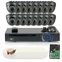 GW Security 16 Channel HD-CVI DVR (16) 2.8-12mm Motorized Zoom 2MP 1080P Outdoor Sony Cmos Dome Security Camera System