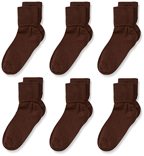 (Jefferies Socks Little Girls'  Seamless Turn Cuff  Socks (Pack of 6), Chocolate,)