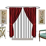 Make Your Own Shower Curtain luvoluxhome Shower Curtains Mildew Resistant Dra ic red Old Fashioned Elegant Theater Stage Elements of swags to Make Your own W54 x L78 Satin Fabric Bathroom Washable