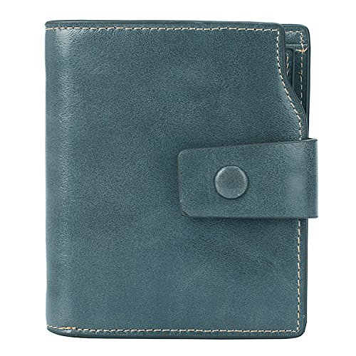 Classic Leather Classic Wallet - BIG SALE-AINIMOER Women's RFID Blocking Leather Small Compact Bi-fold Zipper Pocket Wallet Card Case Purse (Waxed Gray Blue)