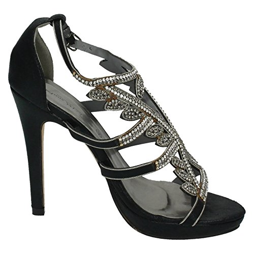 Ladies Heels Black Trim Diamante Anne Party Michelle HwOS1