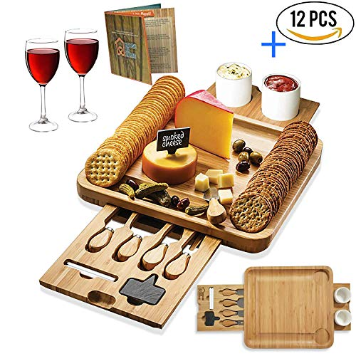 Bamboo Cheese Board Wooden Two Ceramic Bowls Two Magnet Drawers Serving Platter Cutlery Server Knife Set and Slate Labels and Markers Gift Idea for Birthdays, Wedding Registry, -