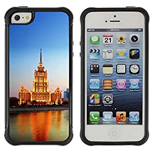 ZAAAZ Rugged Armor Slim Protection Case Cover Durable Shell - Lighted Building River - Apple Iphone 5 / 5S