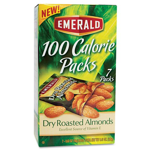 100 Calorie Pack Dry Roasted Almonds, .63 oz Packs, 7 Packs/Box by Emerald