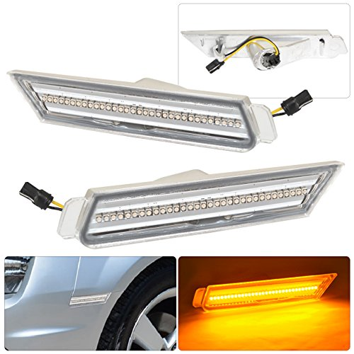 Chevrolet Chevy Camaro Racing Drag Drift Luxury Amber LED Front Bumper Side Markers Lights Chrome Housing Clear Lens Replacement Assembly Pair RH LH