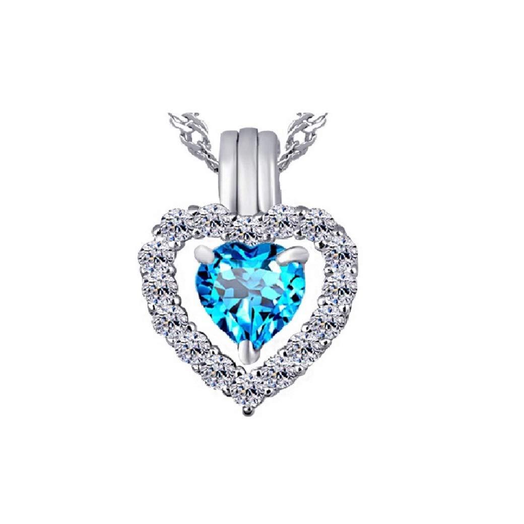 Argent Sterling Poire Suisse Bleu Topaz /& Diamant Papillon en pendentif en forme de cœur