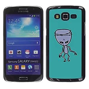 FECELL CITY // Duro Aluminio Pegatina PC Caso decorativo Funda Carcasa de Protección para Samsung Galaxy Grand 2 SM-G7102 SM-G7105 // Alien Green Ufo Mutant Zombie
