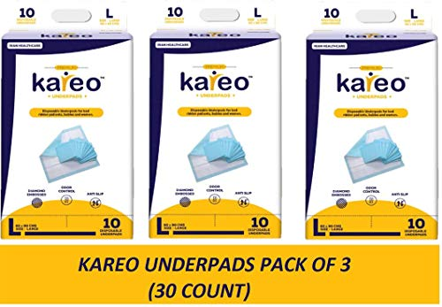Kareo Underpads 60×90 Cms (Large), (Pack of 3) 30 No.'s
