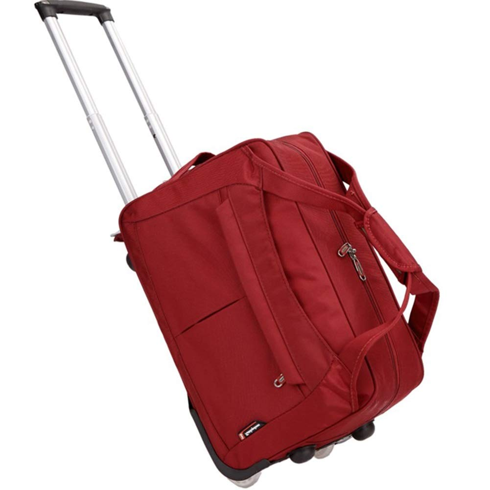 Color : Red, Size : 472628 Travel Bags Retractable Folding 2 Crystal Rubber Wheel Trolley Case Luggage Suitcases Carry On Hand Luggage Durable Hold Tingting