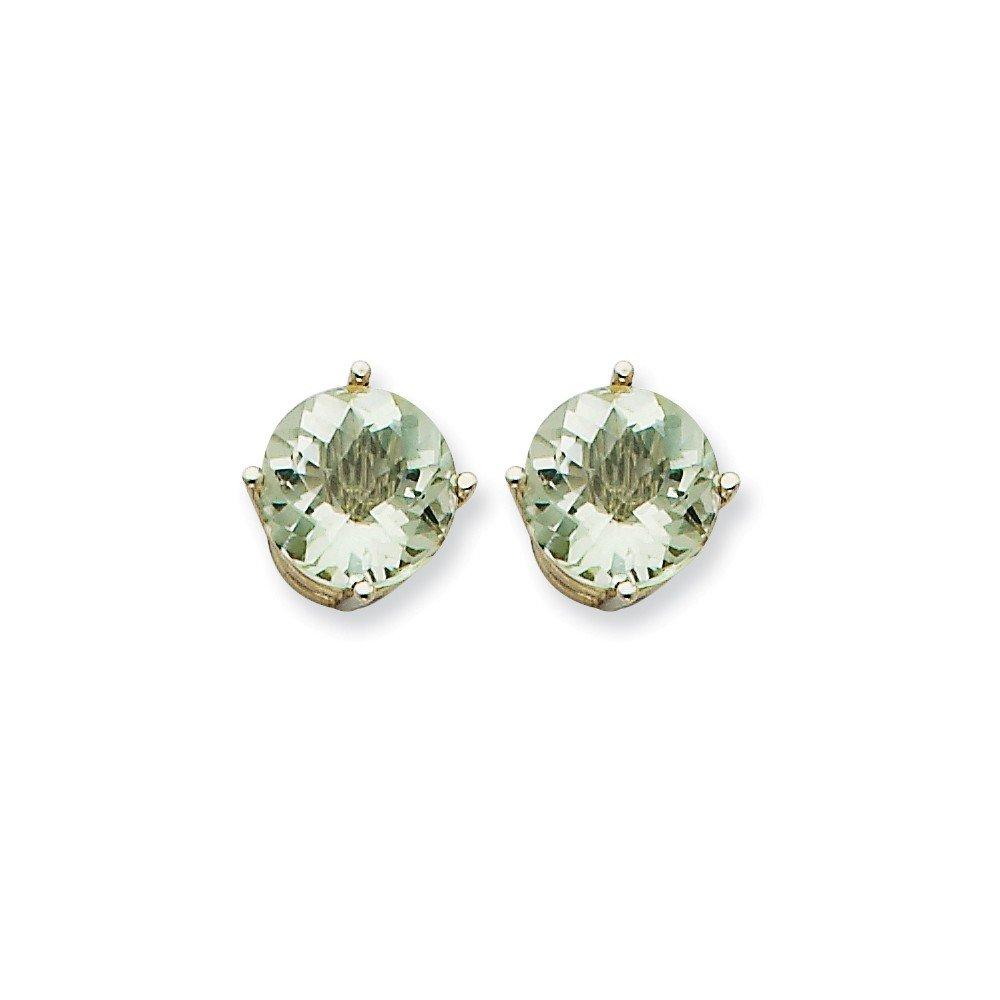 Mia Diamonds 14k White Gold 9mm Round Green Quartz Earrings