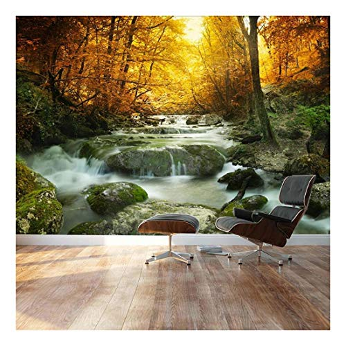 Golden Leaves and Forest Waterfall Serene Landscape Wall Mural