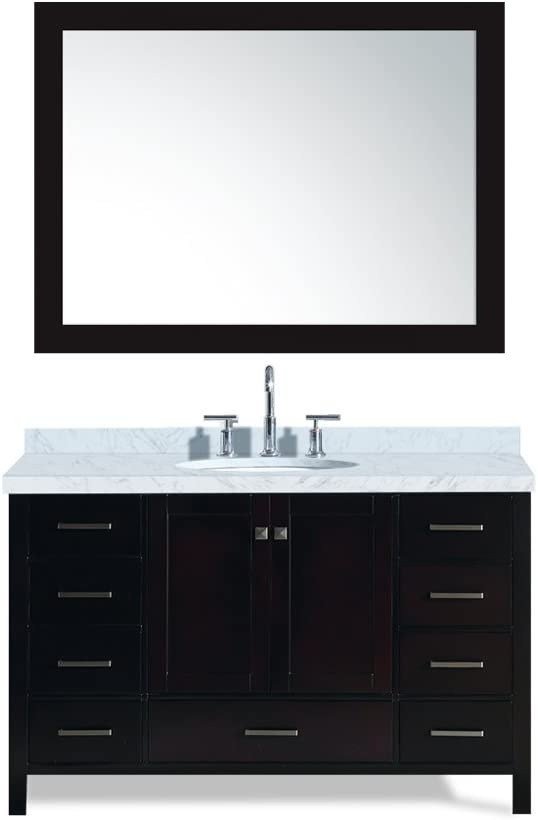 ARIEL Cambridge A055S-ESP 55 Inch Single Oval Sink Solid Wood Espresso Bathroom Vanity with 1.5 Inch Edge White Carrara Marble Countertop