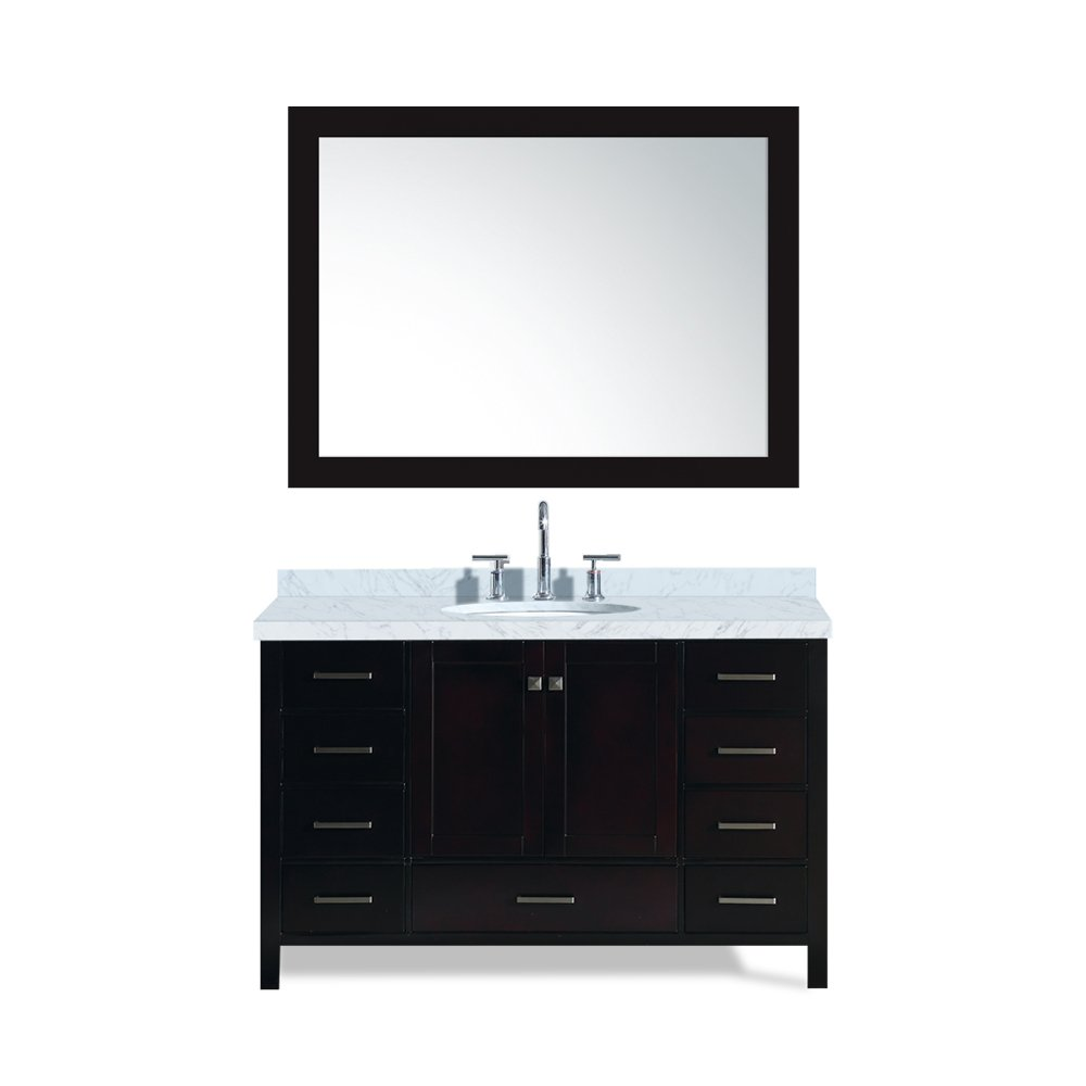 ARIEL Cambridge A055S-ESP 55 Inch Single Oval Sink Solid Wood Espresso Bathroom Vanity with 1.5 Inch Edge White Carrara Marble Countertop