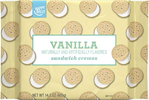 (Amazon Brand - Happy Belly Sandwich Cremes, Vanilla Flavor, One 14.3 Ounce Package )
