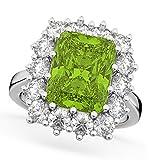 18k Gold (5.68ct) Emerald Cut Peridot and Diamond Lady Di Ring