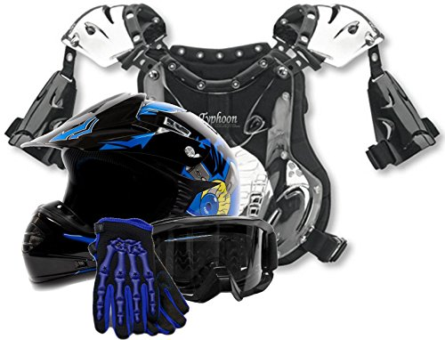 Youth Kids Peewee Offroad Gear Combo Helmet Gloves Goggles Chest Protector Motocross ATV Dirt Bike Blue Crazy Eye - Small
