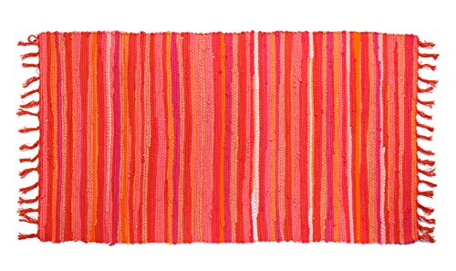 Uniifurn Color Stripe Rag Rugs for Kitchen, Bathroom, Entry Way, Laundry Room (More Color & Size Options Available) (Orange, (Stripe Rag Rug)