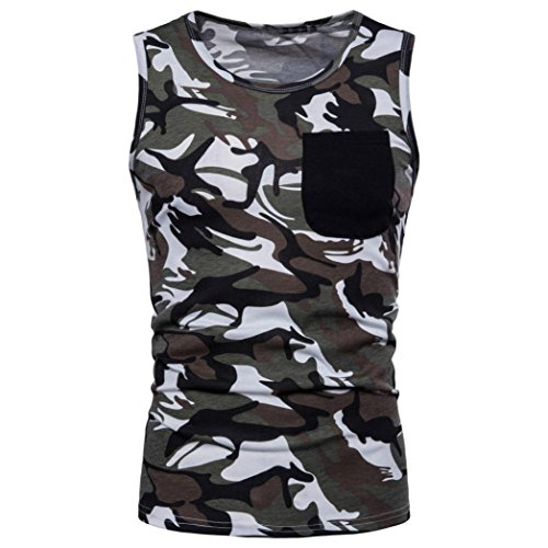 Mens Sport Vest Tops,Brezeh Mens Casual Camouflage Tank Tops Round Neck Gym Workout Tank Tops Summer Loose T-Shirt Blouse