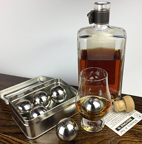 Whiskey & Axe - Premium Set of 6 Stainless Steel Ice Spheres - Chills Better than Whisky Stones - WhiskeySphere Tin by Whiskey & Axe (Image #4)