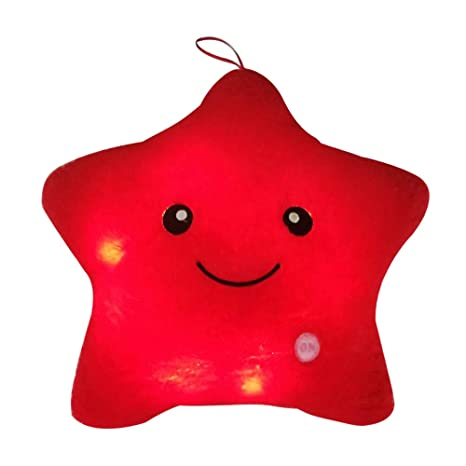 Mystery&Melody LED Estrella Almohadas Luminoso Suave Cojines Maravilloso Guardería Habitación Almohadas Felpa Juguetes Fiesta Decoraciones (Red)