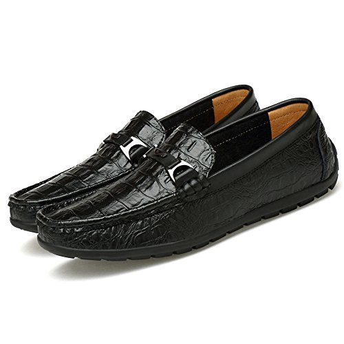 Heel Pelle coccodrillo Resisting Texture Color Men's Loafer 41 on Antiscivolo Marrone Slip Flat EU amp;Baby Nero Mocassini di Dimensione Wear Sunny 0ftpAn70