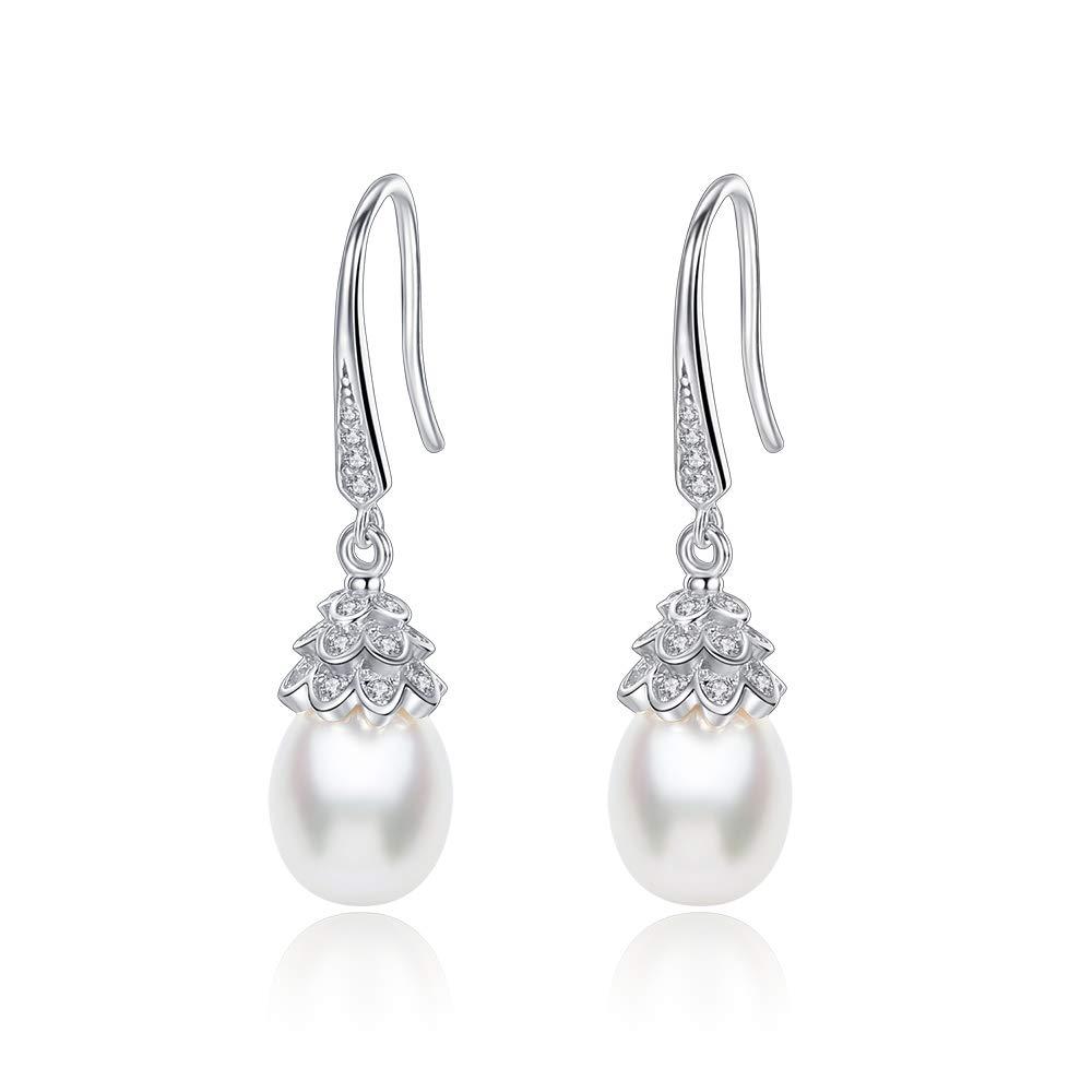 5bff6db0e1d Vintage Cubic Zirconia Teardrop Freshwater Pearl Bridal Bridesmaid Wedding  Earrings Genuine 925 Sterling Silver Bride Jewelry