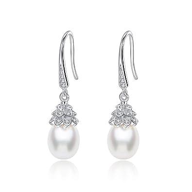 ae5460f71 Amazon.com: Vintage Cubic Zirconia Teardrop Freshwater Pearl Bridal  Bridesmaid Wedding Earrings Genuine 925 Sterling Silver Bride Jewelry:  Jewelry