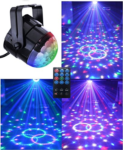 (SuperDiscount)Comwinn Disco Lights Strobe Light Disco Ball Dj Lights Party Lights Xmas 7colors Disco light Disco Party Lights Show for Christmas Parties DJ Karaoke Wedding Outdoor with Remote (Black)