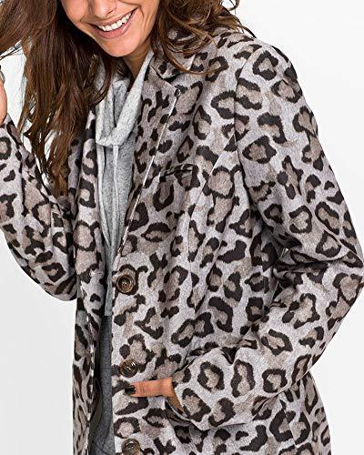 Como La Mujer Solapa Botón Leopardo Cárdigan Blusa Imagen Chaqueta Manga Estampado Larga Abrigo vrwPnF6vq