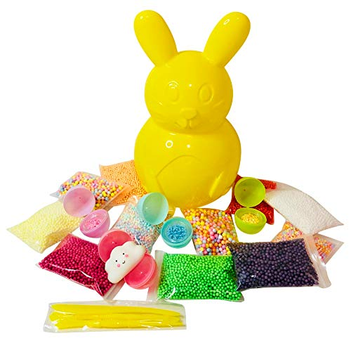 Easter Slime Kit for Girls | Foam Beads for Slime 17 Pack | Surprise Egg Slime Supplies Kit - Include Spring Colors Foam Balls, Shiny Confetti & Squishy + Slime Tools Set | Homemade Slime Art Craft