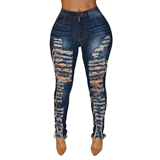 9d3d25e62cf Kehen New Women Knee Skinny Denim Distressed Ripped Boyfriend Jeans Stretch  Distressed Blue Pants Trousers at Amazon Women's Jeans store