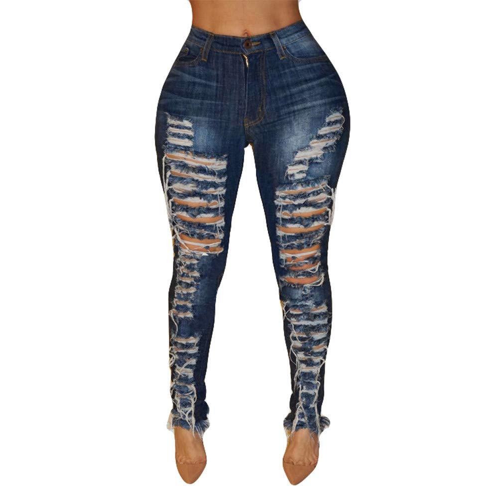 51ee38d3b2 Rambling New Women s High Waisted Skinny Destroyed Ripped Hole Denim Pants  Long Stretch Pencil Jeans at Amazon Women s Jeans store