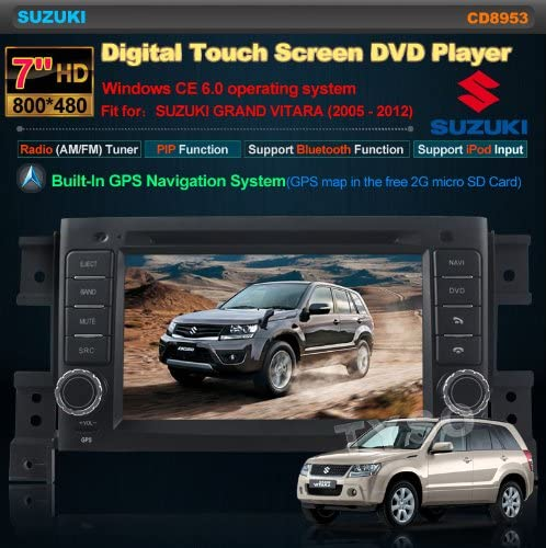 Tyso For SUZUKI GRAND VITARA 2005 2006 2007 2008 2009 2010 2011 2012 7 inch Indash Win CE6.0 operation system CAR DVD Player GPS Navigation Navi iPod Bluetooth HD Radio AM FM Tuner PIP Stereo Free Map CD8953