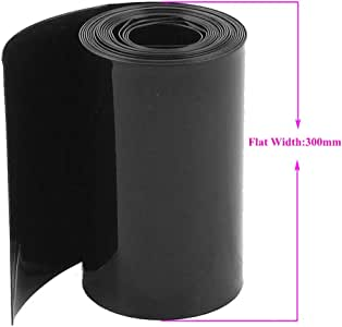 Black Battery Heat Shrinkable Tubing,3m (1Roll) of 0.15x300mm Battery Pack Wrap Heat Shrink Sleeve for 18650 21700 AA AAA 18500 20700 26650 Battery Pack