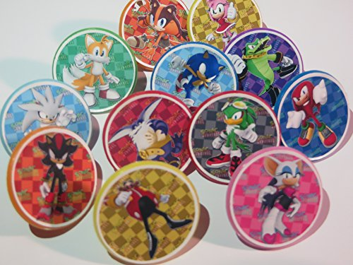 Price comparison product image Sonic Characters Cupcake Ring Toppers,  Birthday,  12CT,  Hedgehog,  Knuckles