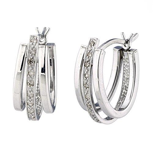 Sterling Silver Diamond Hoop Earrings 1 10 cttw
