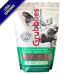 Grubblies - 1 lb. 50x More Calcium Than Mealworms, USA-Grown Non-GMO Grubs - a Daily Nutritious Snack to Treat Your Chickens - 100% Natural and Oven-Dried for Happy, Healthy Hens