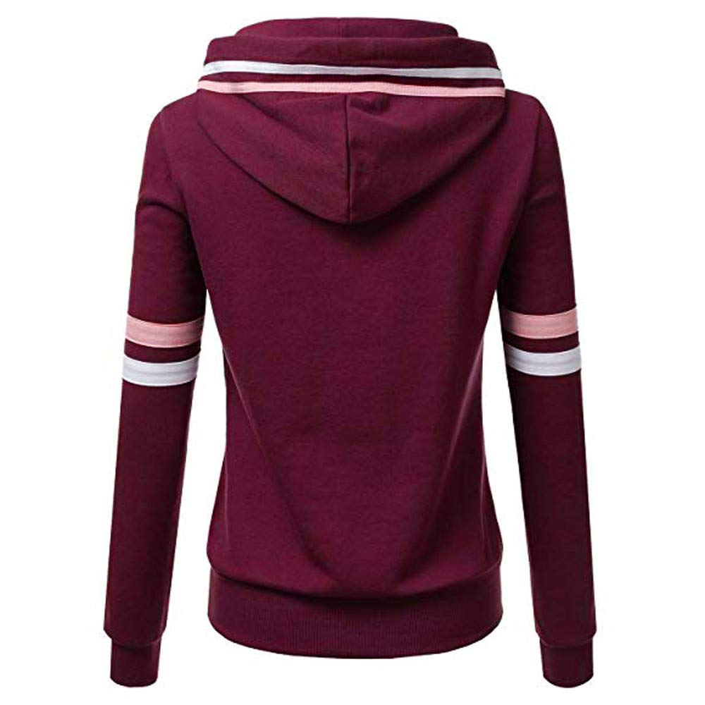 Bluestercool Sweats /à Capuche Femmes Casual Manches Longues Ray/é Poches Pull-Over Sweat-Shirt Automne Tops
