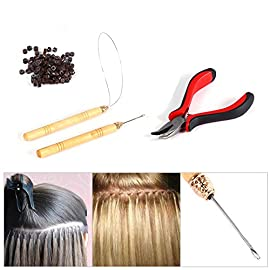 100PCS Silicone Beads Hair Extension Micro Rings + Hook Needle + Pulling Loop + Plier Tool Kit