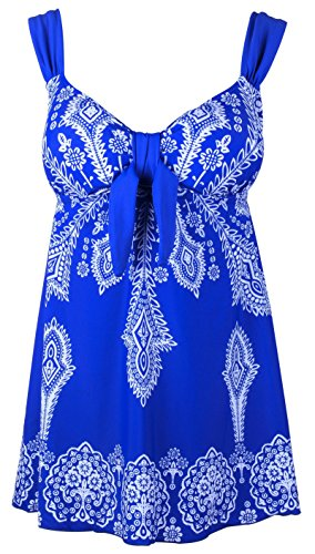 Women's Plus-Size Swimsuit Retro Print Two Piece Pin up Tankini Swimwear Blue US 24W-26W ()