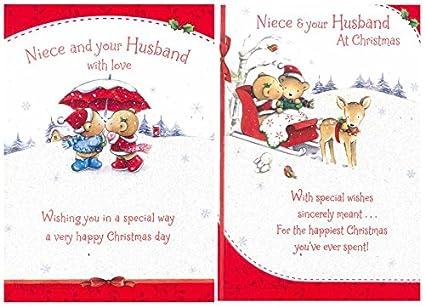 Merry Christmas Niece.Merry Christmas To Niece Husband Cute Greeting Card Words Xmas Cards X60