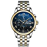 GOHUOS Men's Self Wind Automatic Mechanical Stainless Steel Band Day Date Month Wrist Watch