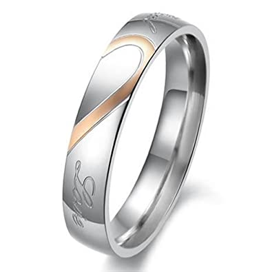 women size 5 konov mens womens heart stainless steel promise ring couples wedding bands - Wedding Rings For Couples