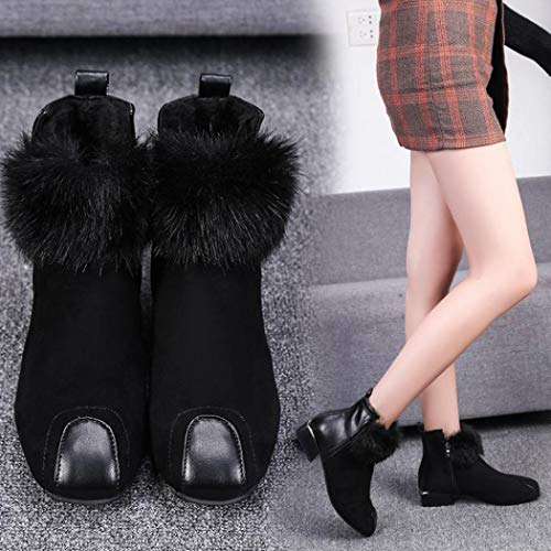 Fluffy Shoes Toe Faux Martain Black Winter Suede Boot Women Fur Boots Square Classic Boots Ankle HOMEBABY HIwq5Rf